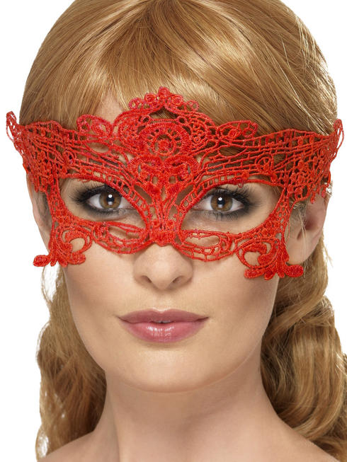 Red Heart Embroidered Lace Filigree Eyemask