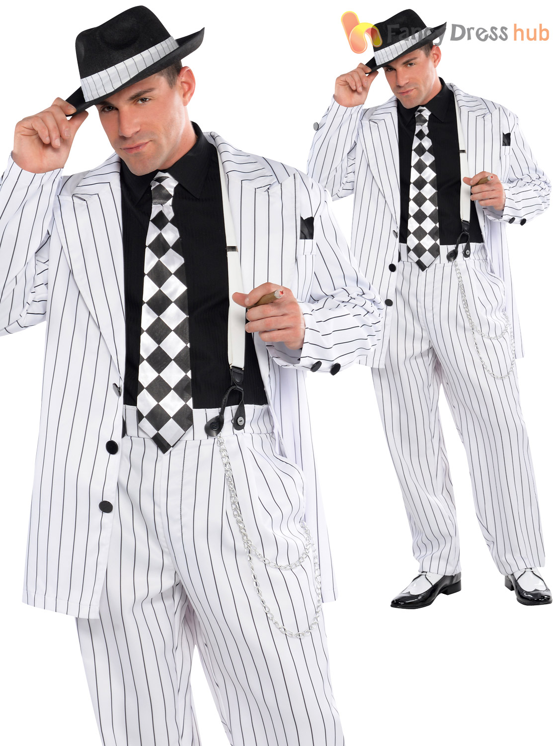Bugsy 70s Pimp Daddy Gangster Gessato Suit Costume Cappello Taglie Forti