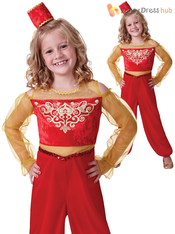 Girls-Arabian-Princess-Costume-Jasmin-Aladdin-Genie-Fancy-  sc 1 st  eBay & Girls Arabian Princess Costume Jasmin Aladdin Genie Fancy Dress Book ...