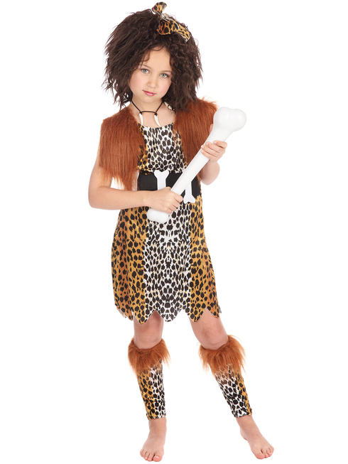 Girl's Cave Girl Costume & Wig