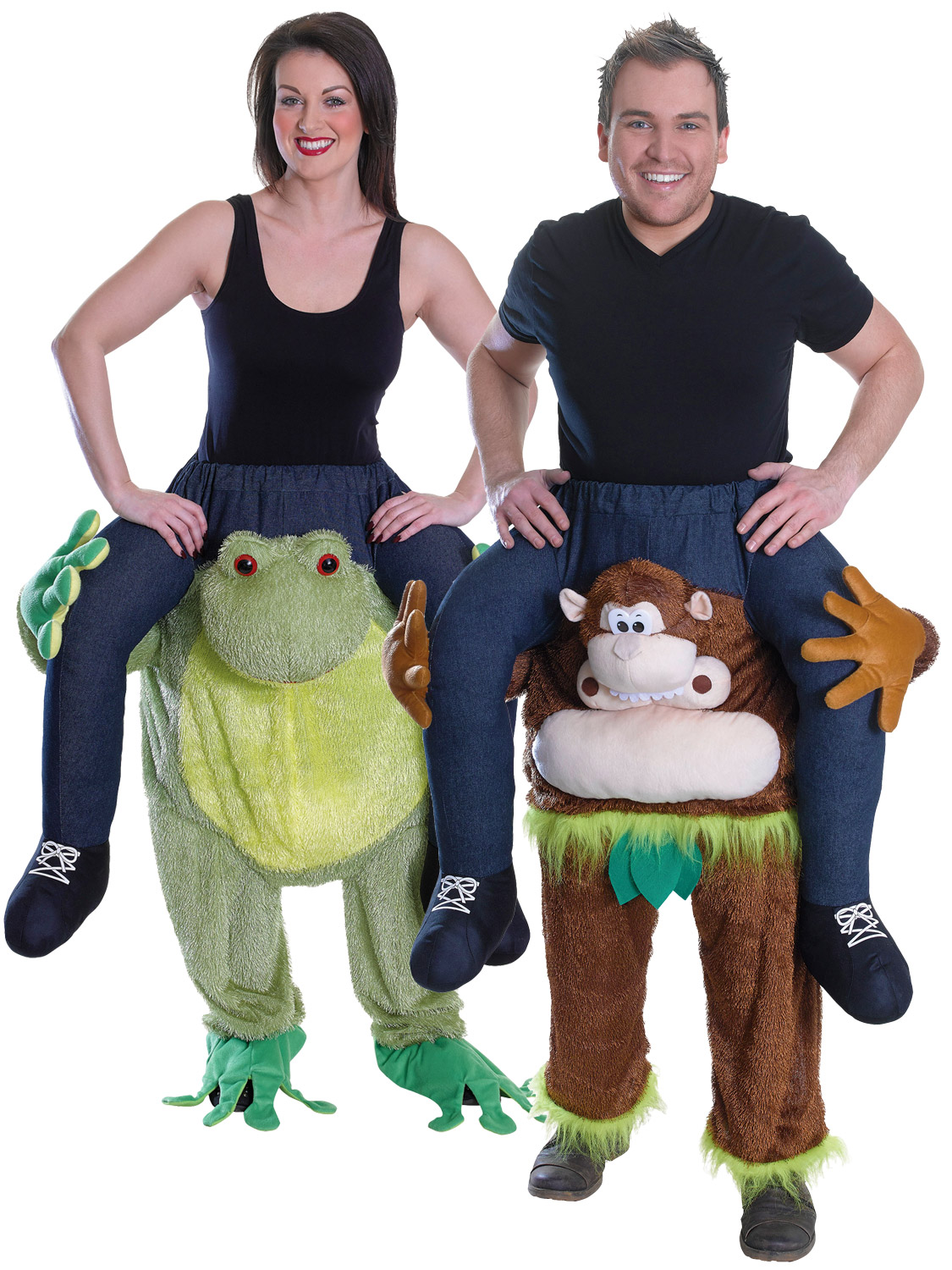 Adults animal piggy back costume mens ladies monkey frog fancy dress transform yourself into an eye catching animal with these adults piggy back frog and monkey fancy dress costumes solutioingenieria Choice Image