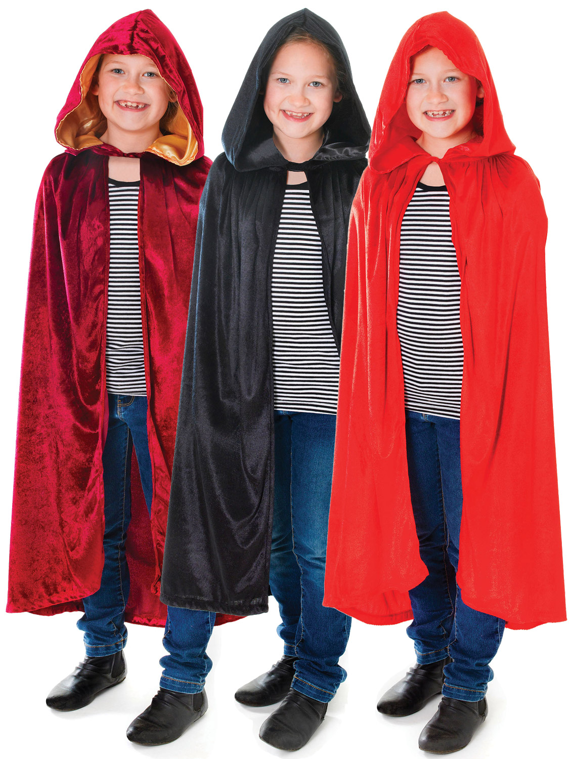 Childs Fancy Dress Hooded Cape Red Kids Childs Red Riding Long Cloak New