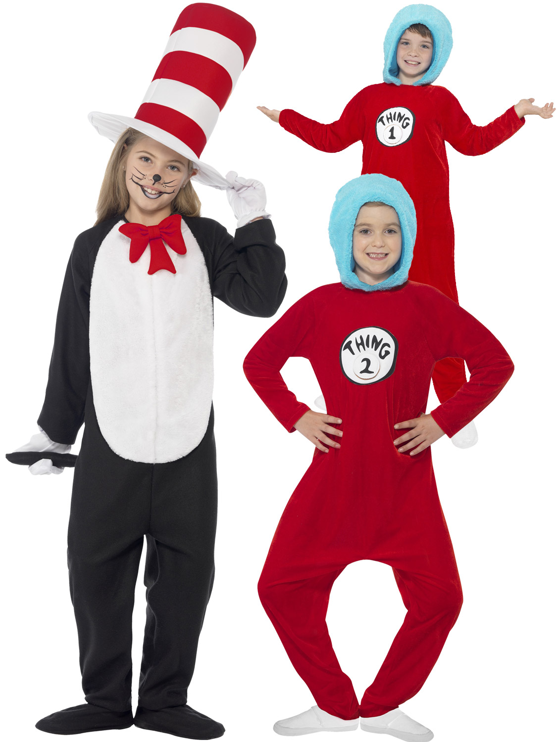 Details about Kids Cat in the Hat Costume Dr Seuss Thing 1 2 Girls Boys  Fancy Dress Book Week 6878390d4