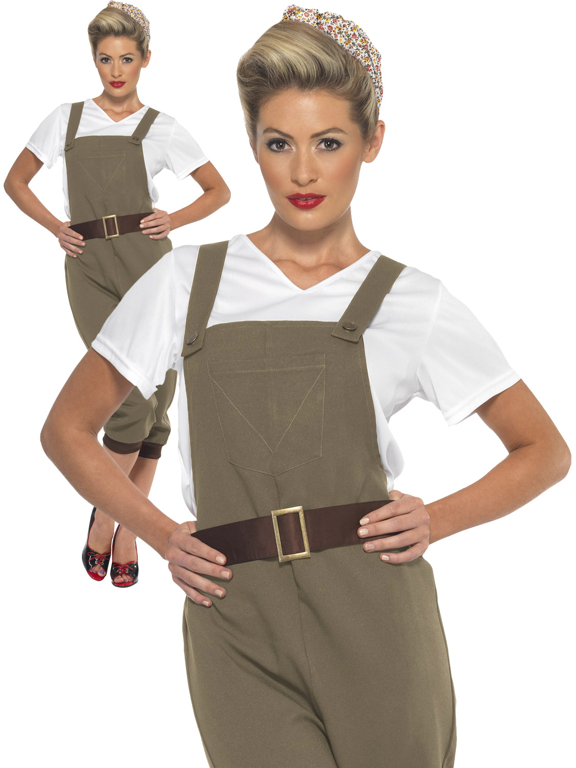 9719fe953c2e Details about Adults WW2 1940s Land Girl Ladies Army World War 2 Fancy Dress  Costume Outfit
