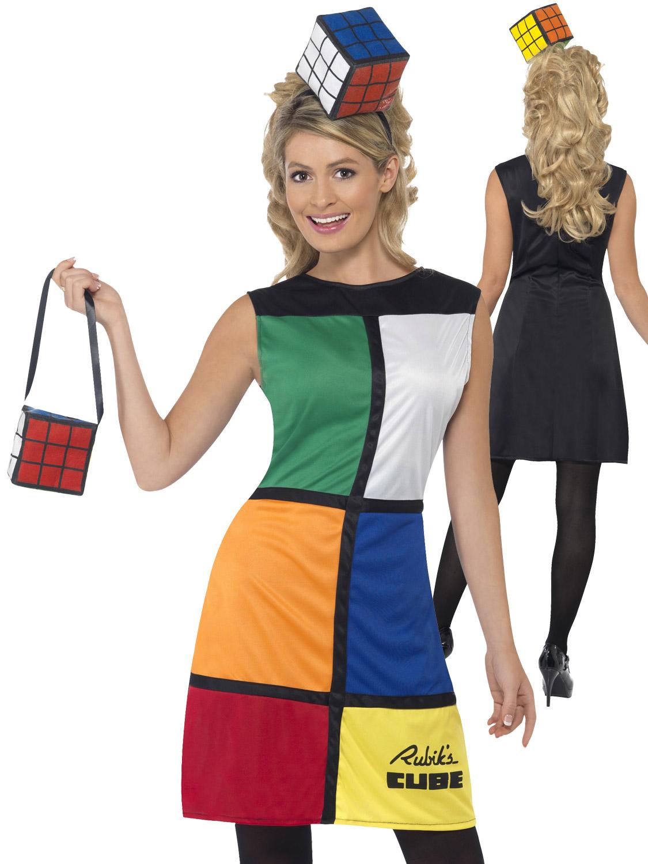 Women/'s 1980/'s Licensed Rubik Cube Dress Fancy Dress Costume Hen Game Retro Fun