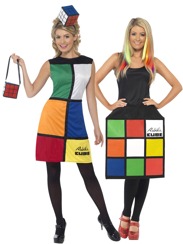 Womens Rubiks Cube Costume Halloween Rubik/'s 80s 80/'s Fancy Dress Bag Headband