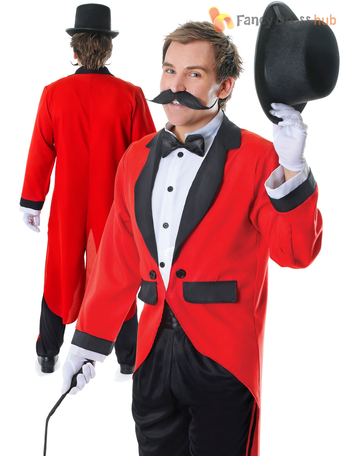 Mens Ringmaster Costume Adult Circus Fancy Dress Male Lion ...