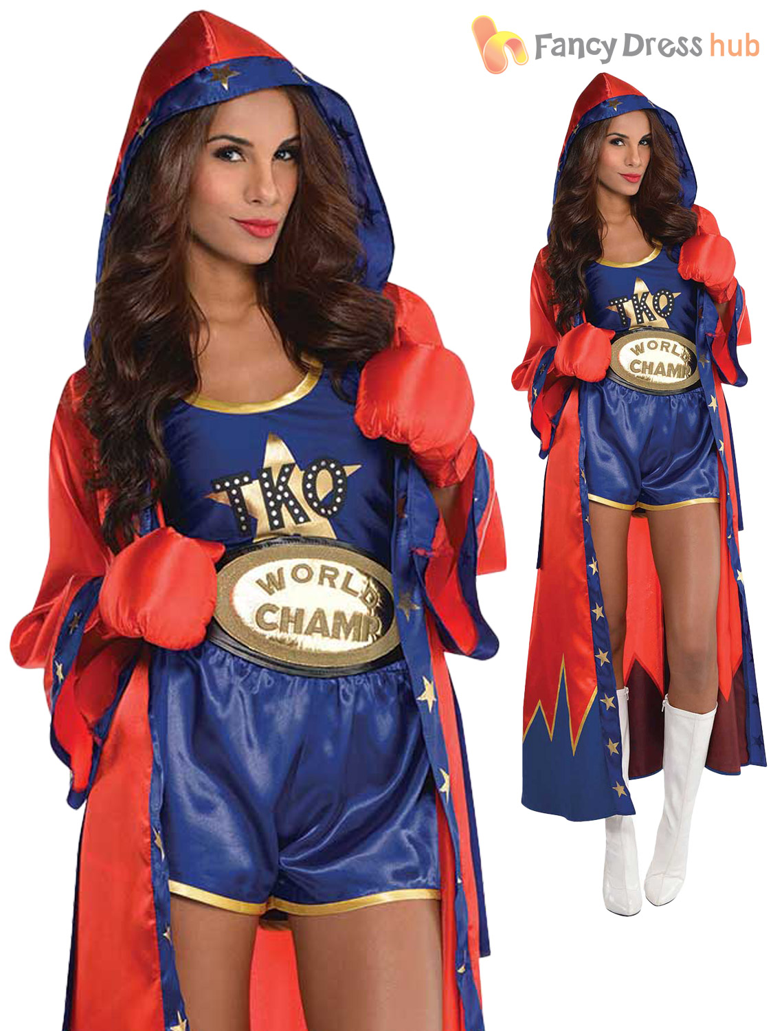 ladies sexy boxer costume adults knockout fancy dress
