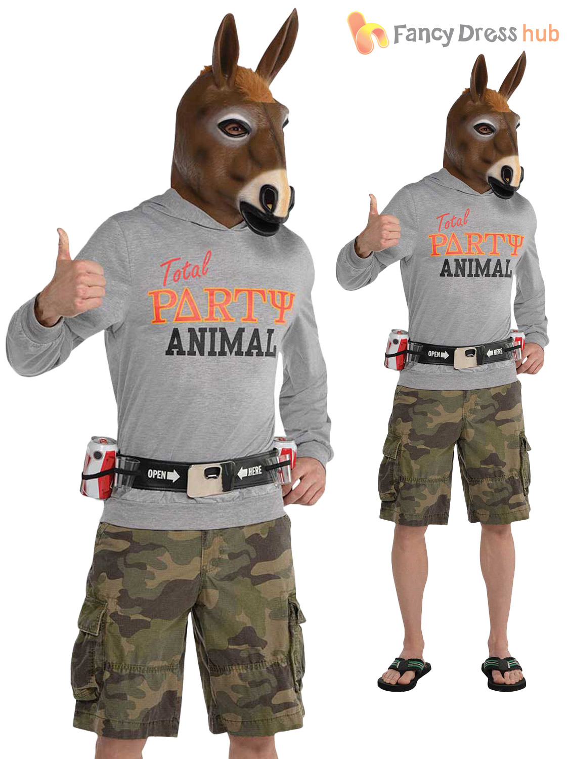 Adults Party Animal Costume Mens Jackass Donkey Stag Novelty Funny ...