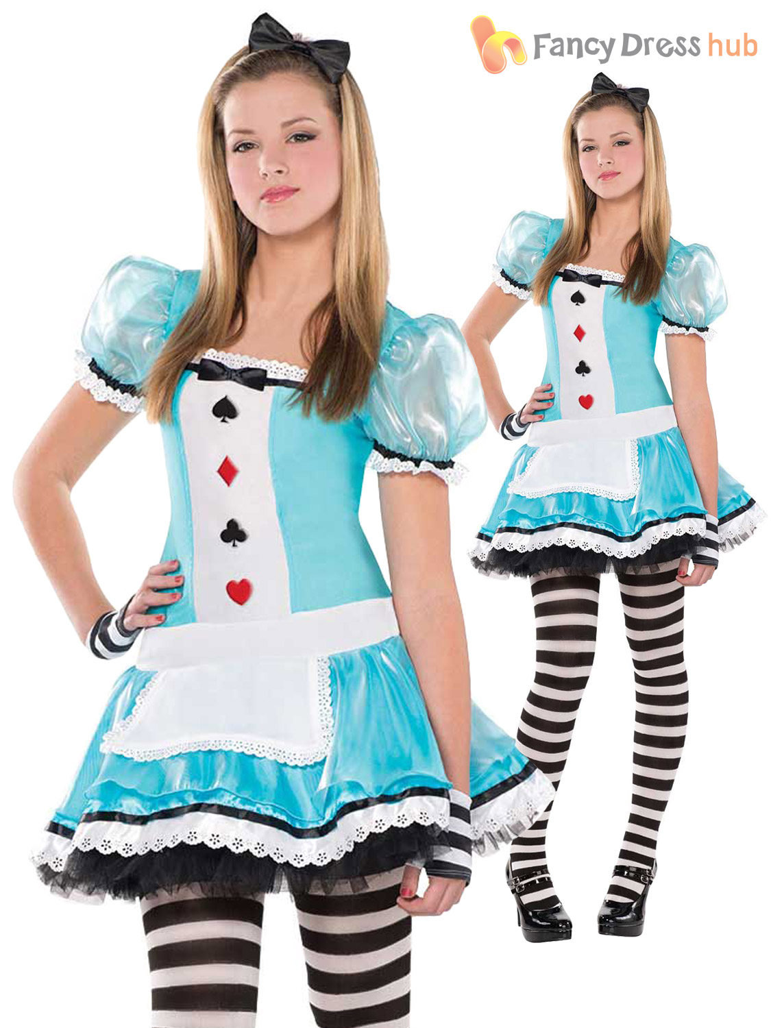 Girl Mad Hatter Costume Queen of Hearts Fancy Dress Child Alice ...