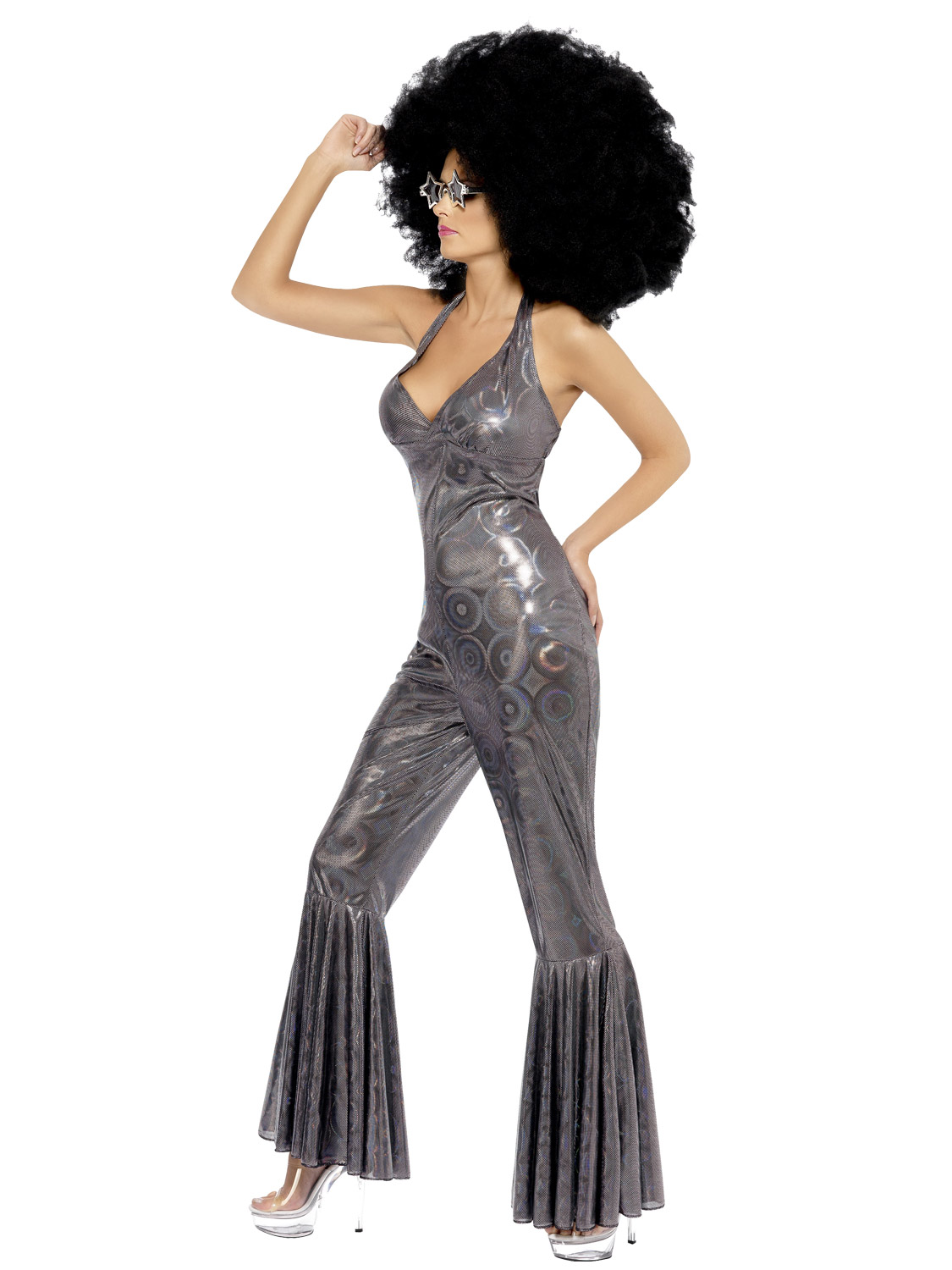 Ladies Holographic Disco Diva Costume Flares Dancer 80s 70s Fancy Dress Jumpsuit