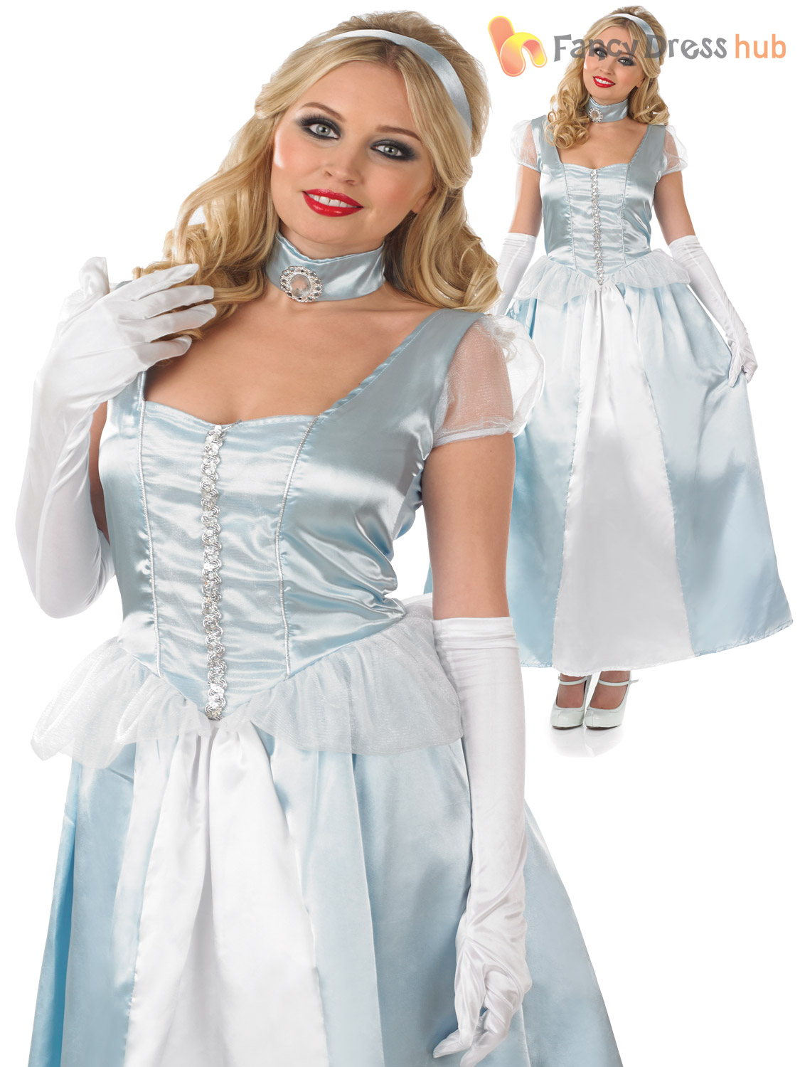 Adults-Long-Blue-Princess-Costume-Ladies-Fairy-Tale-  sc 1 st  eBay & Adults Long Blue Princess Costume Ladies Fairy Tale Fancy Dress ...