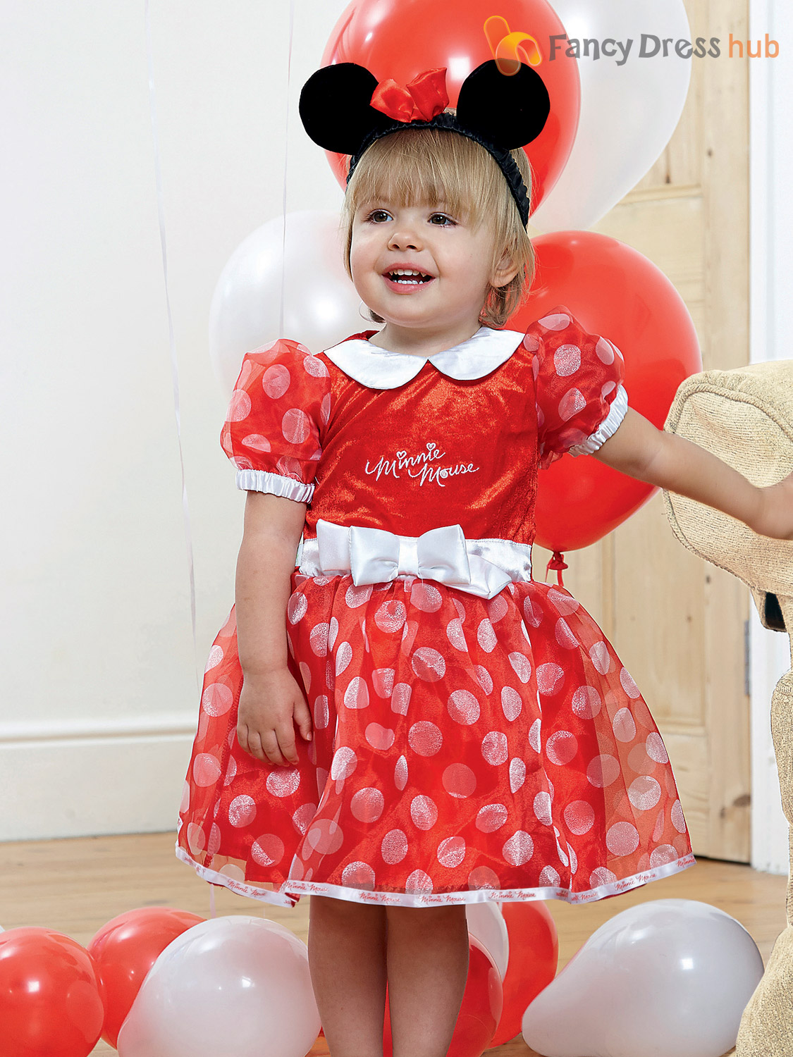 baby toddler deluxe minnie mouse costume girl disney fancy dress up outfit child ebay. Black Bedroom Furniture Sets. Home Design Ideas