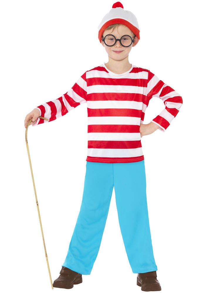 Suit Ladies Wenda Costume Fancy Dress Stripes Book Day Outfi Mens Where/'s Wally