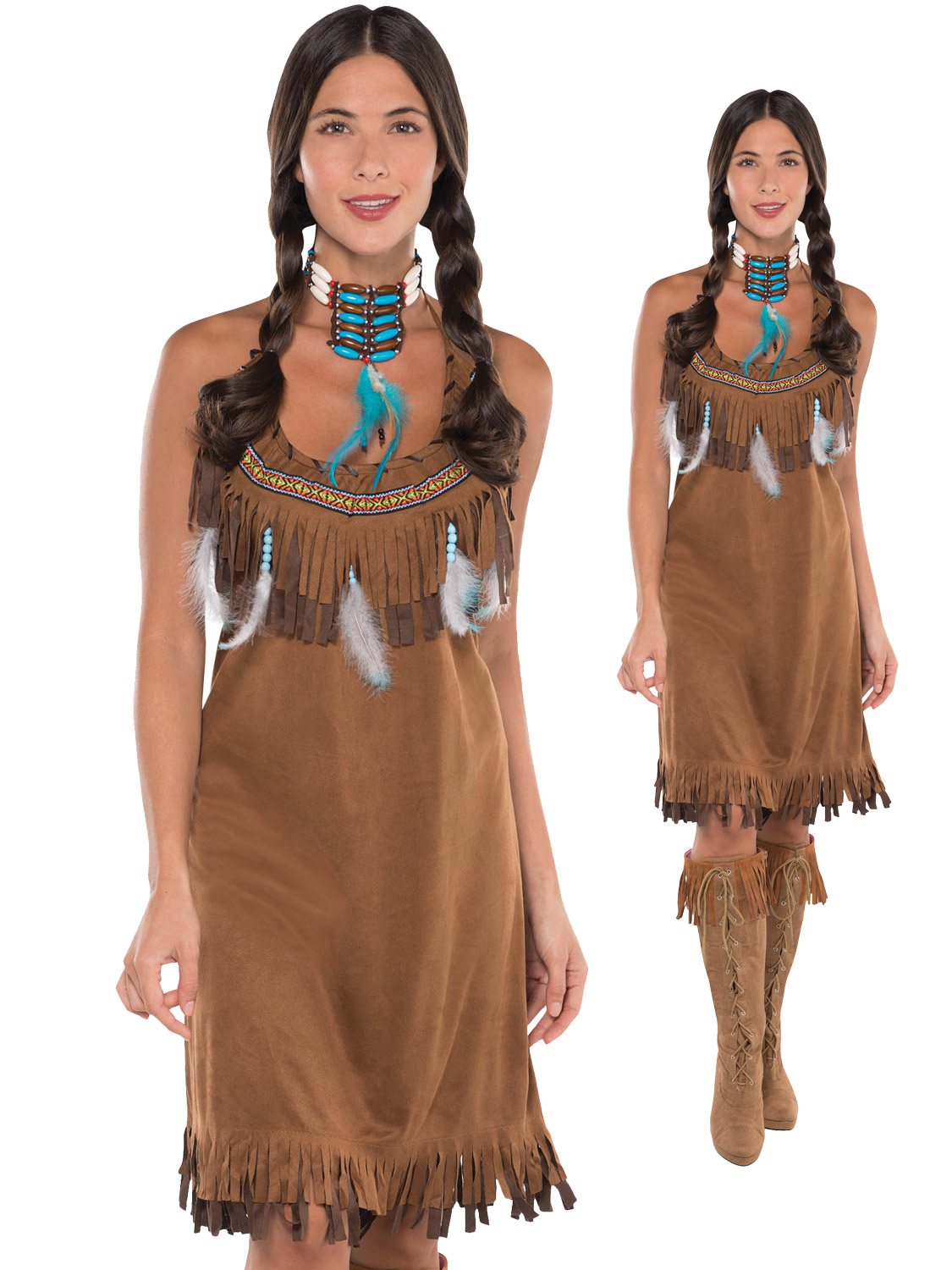 ladies red indian costume adults pocahontas native american fancy dress western ebay. Black Bedroom Furniture Sets. Home Design Ideas