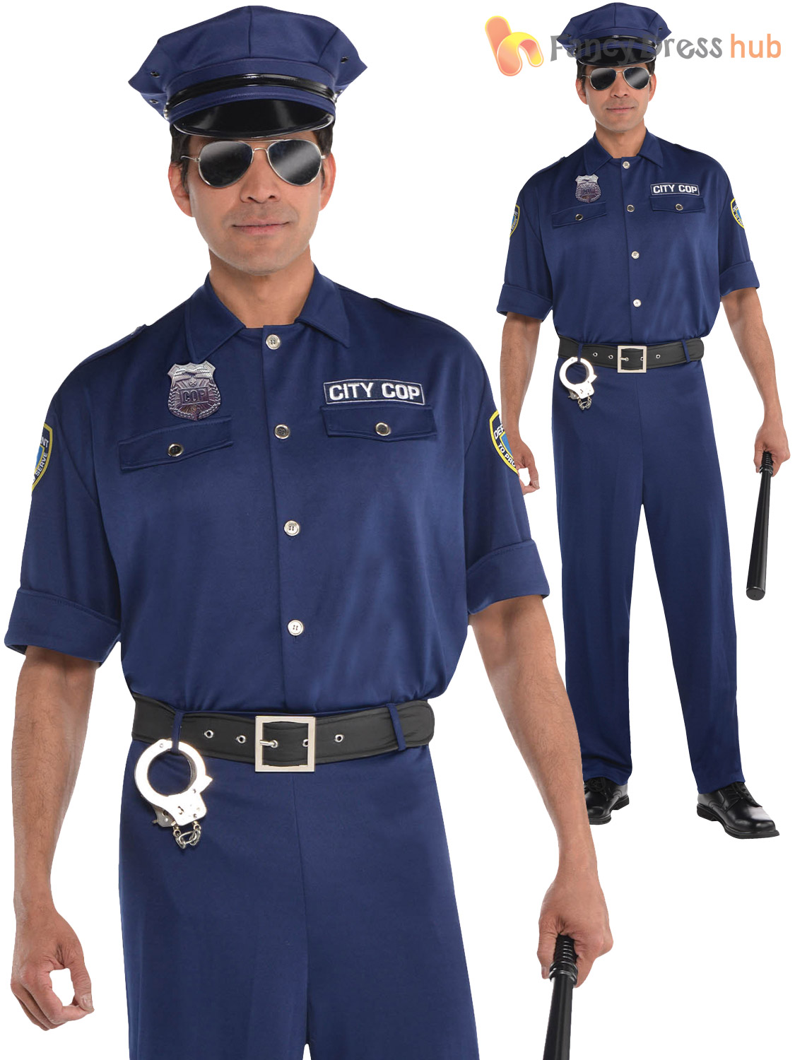 6d47540a95 Adult Mens Police Officer Costume Policeman PC Cop Copper Fancy ...
