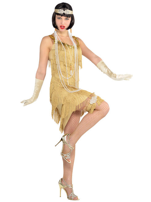 Ladies Champagne Flapper Dress