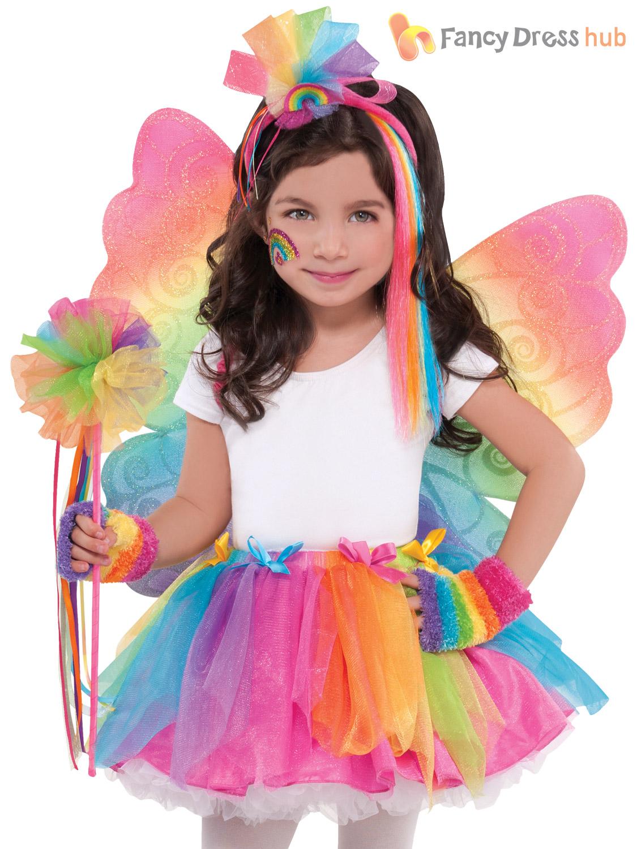 Girls Multicolour Rainbow Fairy Butterfly Wings Wand Fancy