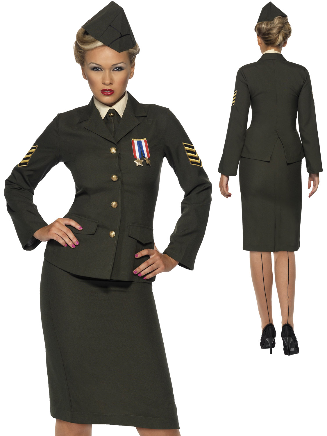 Ladies Wartime 1940 WW2 Army Officer Costume Adult Uniform ...