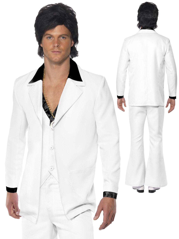 Mens 70s White Disco Suit Saturday Night Fever John Travolta Fancy Dress Costume