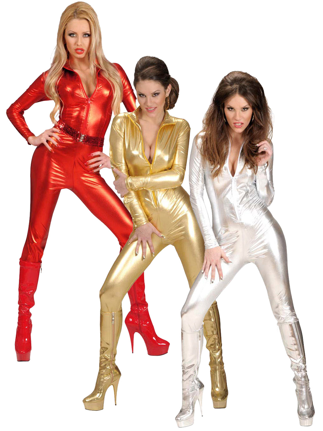 Ladies Sexy Catsuit Adult Metallic 1970s Fancy Dress ...