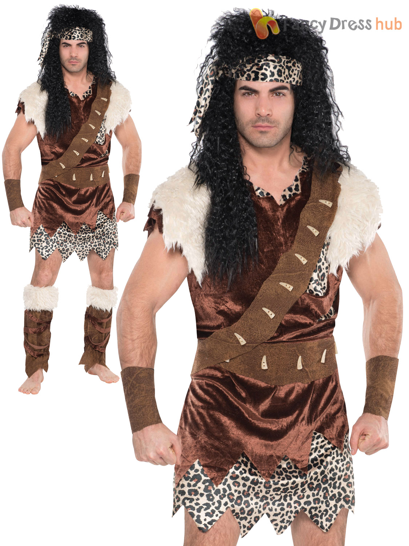 Adults Neanderthal Costume Mens Caveman Fancy Dress Medieval Cave ...