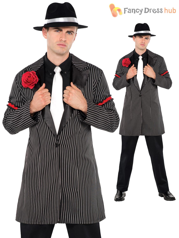 gangster gangsta zootsuit 20s jacket mens adults fancy dress costume