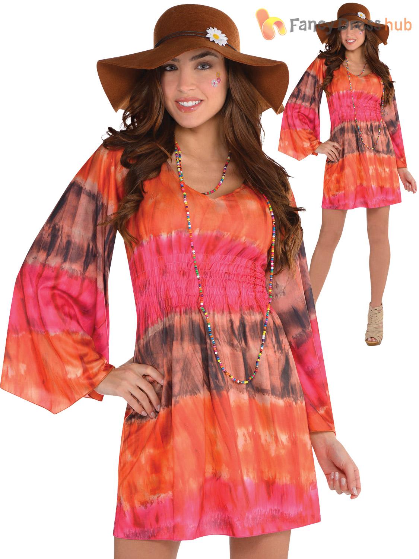 Ladies 1960s Groovy Festival Fancy Dress Adults Hippy ...