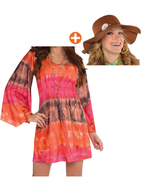 Ladies 1960s Groovy Festival Dress + Hat