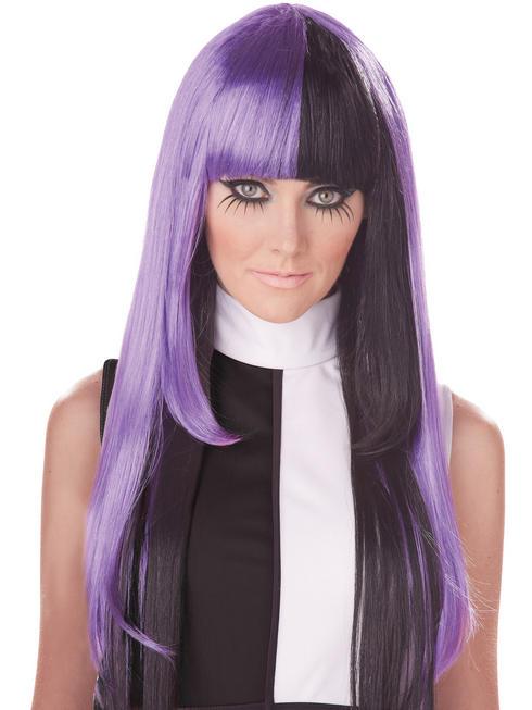 Ladies 1960s Black & Purple La Mod Wig
