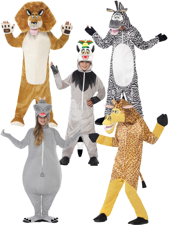 Child Madagascar Costume Boys Girls Animal Fancy Dress Zoo