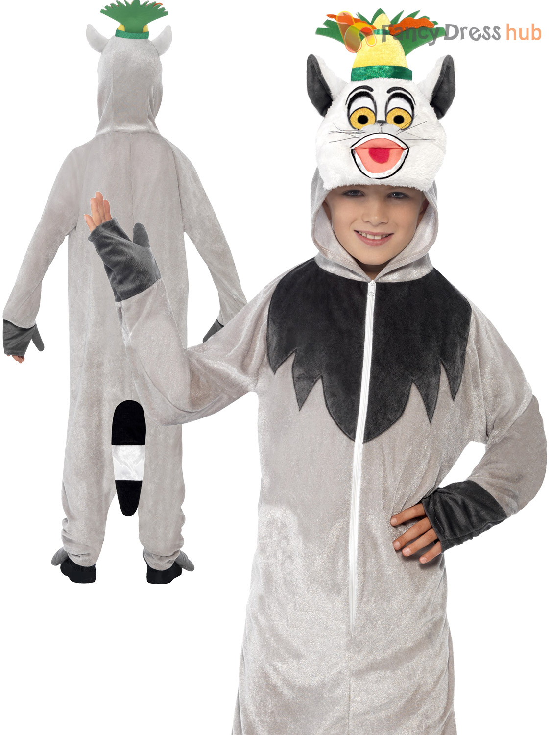 Child-Madagascar-Costume-Boys-Girls-Animal-Fancy-Dress-  sc 1 st  eBay : cat costume for guys  - Germanpascual.Com