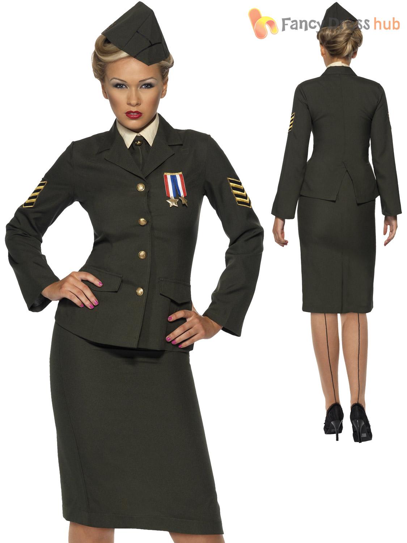 3fb477d6621c Ladies Wartime 1940 WW2 Army Officer Costume Adult Uniform Fancy ...
