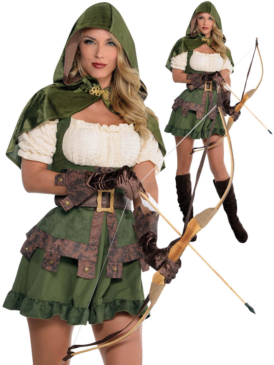 Image 2  sc 1 st  eBay & Ladies Sexy Robin Hood Costume Adults Maid Marion Fancy Dress ...