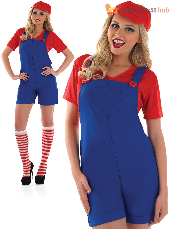 Ladies-Super-Mario-Luigi-Costume-Adult-Plumber-Bro-  sc 1 st  eBay & Ladies Super Mario Luigi Costume Adult Plumber Bro Fancy Dress Women ...