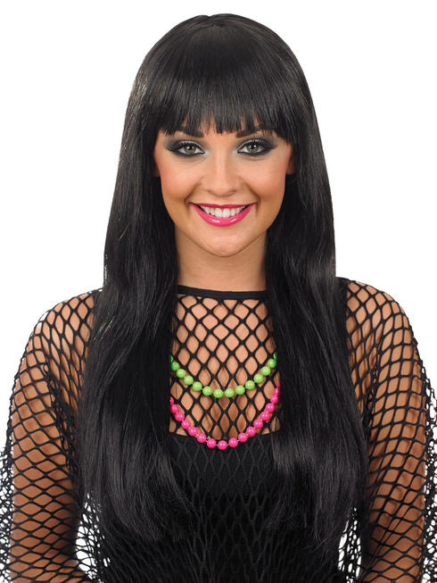 Ladies Black Fringe Wig