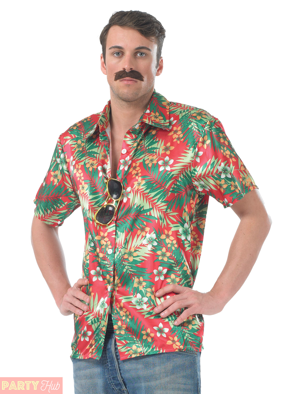Mens Hawaiian Shirt Stag Retro Aloha Fancy Dress Costume Outfit Beach Tropical | eBay