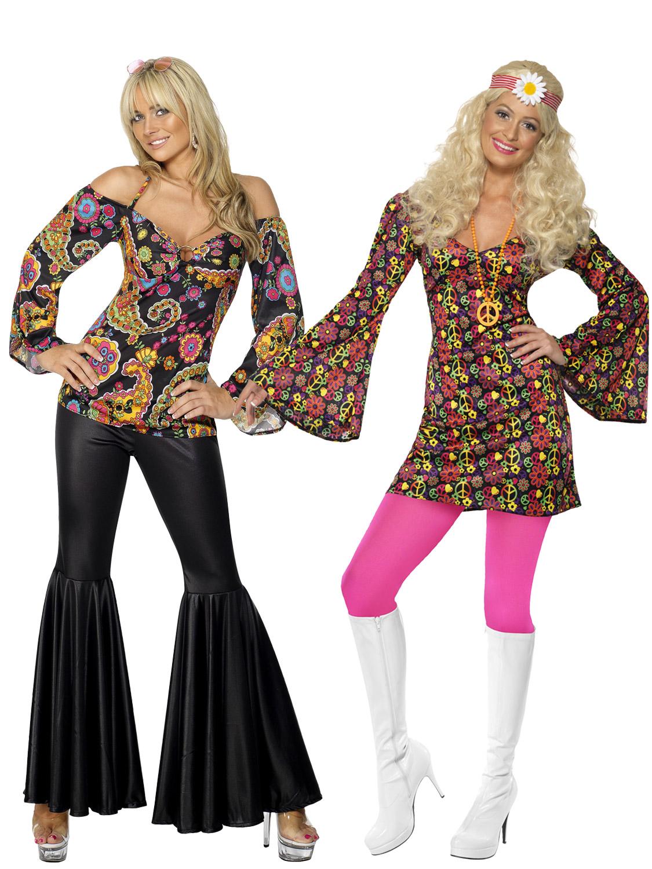 Ladies Hippy Fancy Dress Costume Hippie Womens 1970s 60's ...
