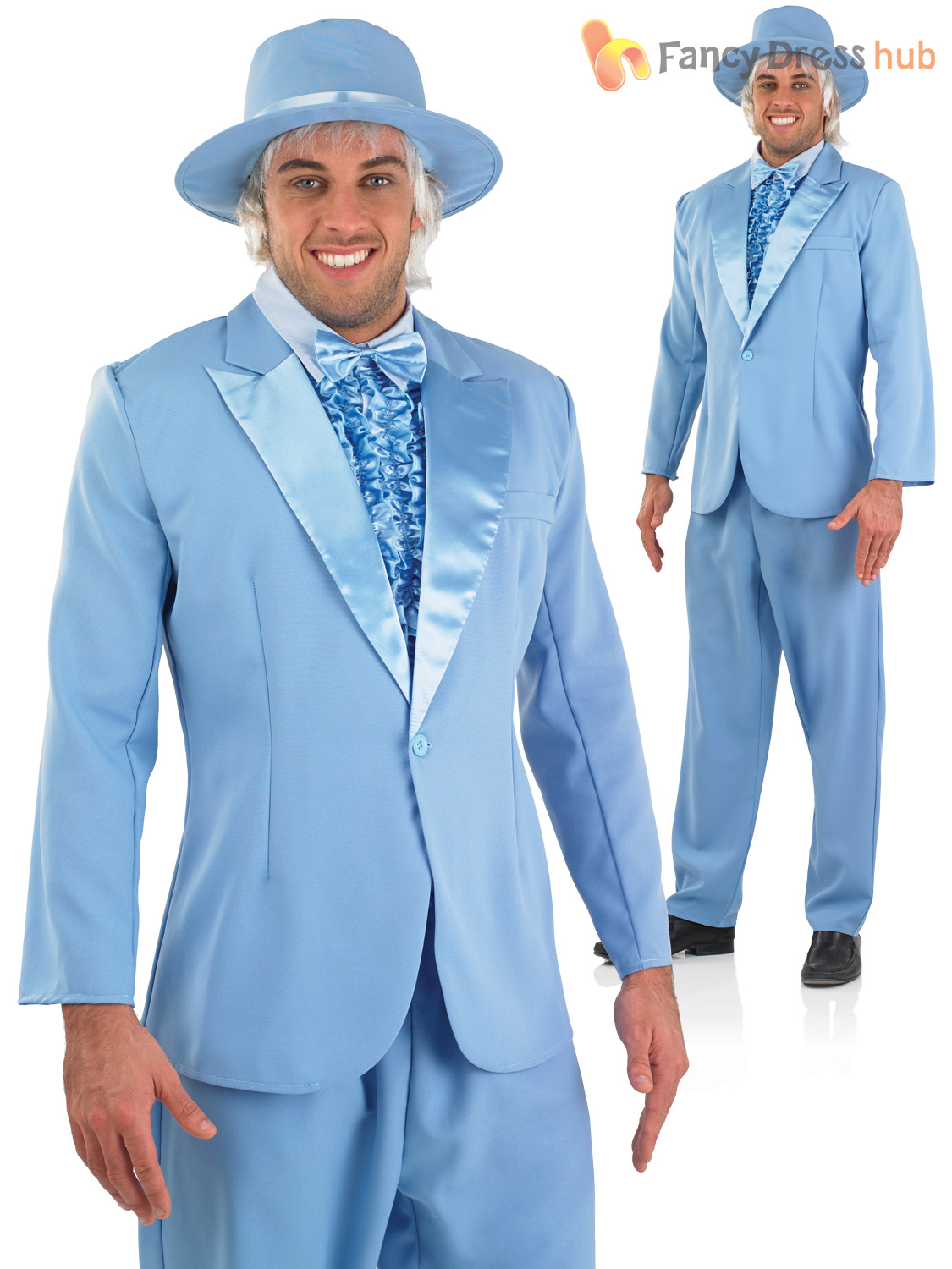 Mens Bright Suit Adult Pimp Gangster Dumb Dumber Fancy Dress Costume ...