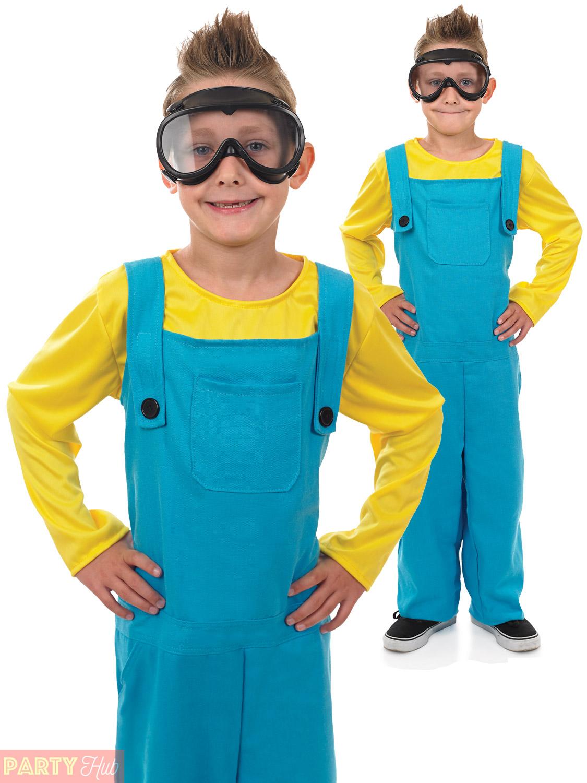 Child-Minion-Costume-Boys-Girls-Welder-Fancy-Dress-  sc 1 st  eBay & Child Minion Costume Boys Girls Welder Fancy Dress Kids Book Week ...