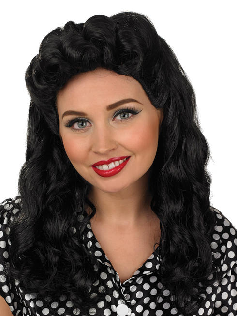 Ladies Black Vintage Wig