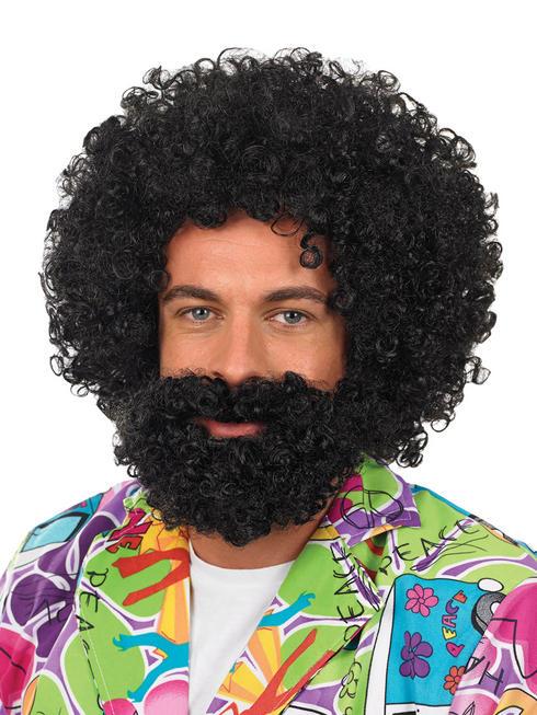 Men's Black Afro Wig & Beard