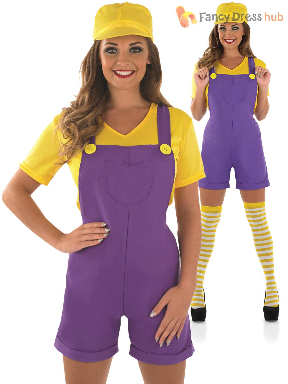 Ladies Super Mario Luigi Costume Adult Plumber Bro Fancy Dress Women ...