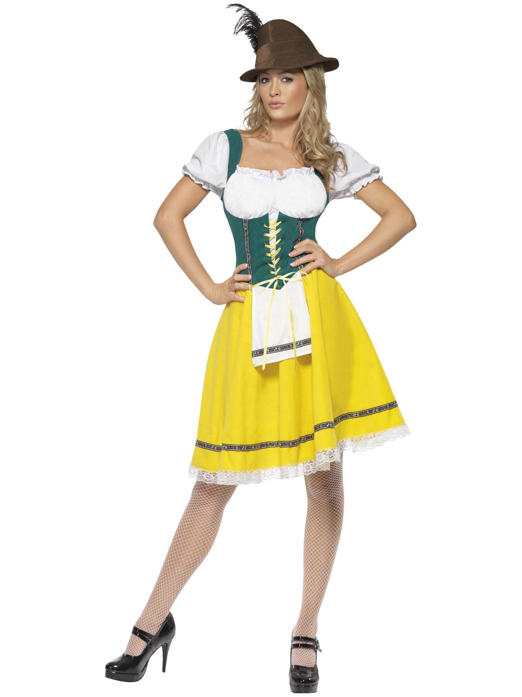 Femmes Bière Allemande Fille Oktoberfest Costume Fancy Dress Costume 8-22 Plus Taille