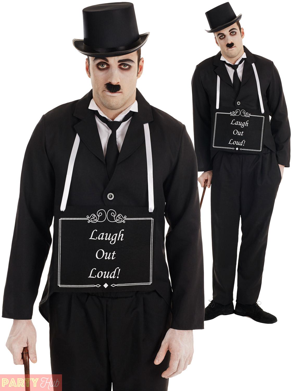 1920s Silent Film Costume Mens Ladies Couple Charlie Chaplin Fancy
