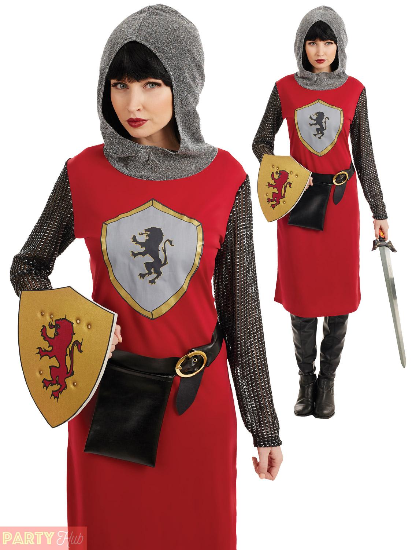 Image is loading Mens-Ladies-Medieval-Knight-Costume-Adult-Crusader-Couple-