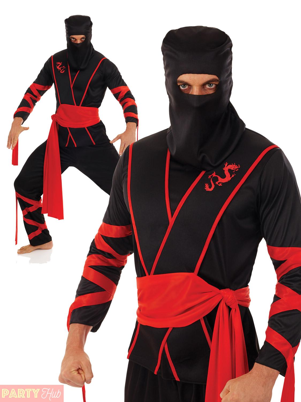 Mens-Ninja-Costume-Adult-Warrior-Martial-Art-Samurai-  sc 1 st  eBay & Mens Ninja Costume Adult Warrior Martial Art Samurai Uniform Fancy ...