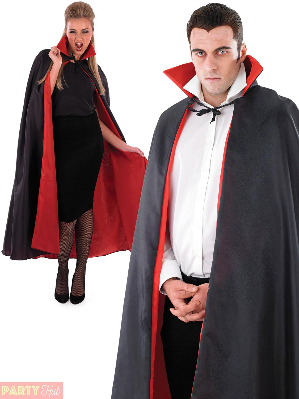 adult black vampire cape cloak men ladies halloween - Halloween Dracula Costumes