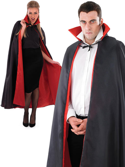 Adults Black Vampire Cape with Red Lining