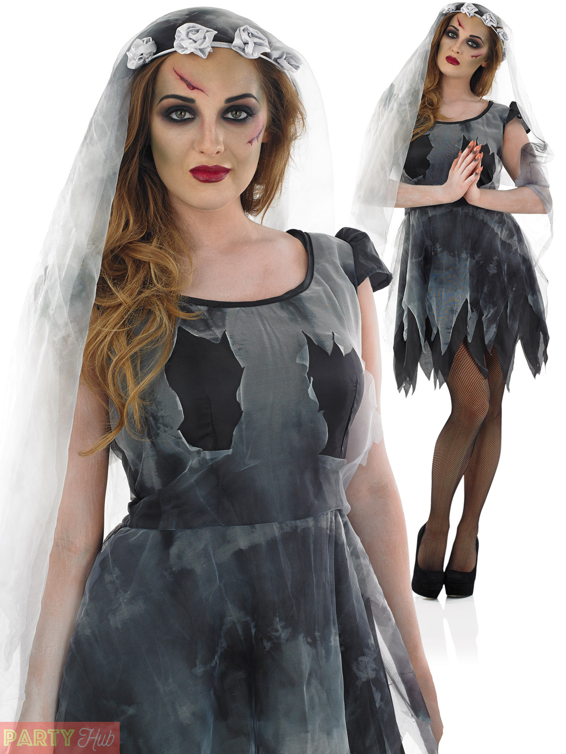 Details about Ladies Corpse Bride Costume Zombie Bride Halloween Fancy  Dress Womens Plus Size